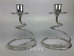 Vintage FISHER Pair Mid Century Modern Spiral Curl Sterling Silver Candlesticks