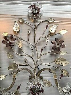 Vintage French Maison Bagues PAIR Crystal Silver Gilt Iron Urn Wall Sconces