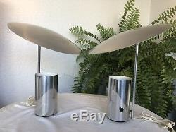 Vintage George Nelson Half Nelson Pair Chrome Lamps for Koch & Lowy MidCentury