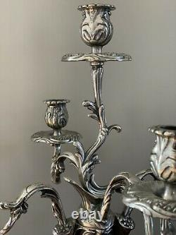 Vintage Georgian Styled Silvered Candelabras Lamp Candle Holder Pair Italian