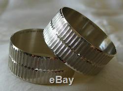 Vintage Gorham Sterling Silver 2 Napkin Rings Set Pair Modernist Geometric 40 g