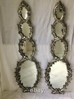 Vintage Hollywood Regency Rococo Burnished Silverleaf Wall Mirrors, a Pair
