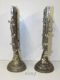Vintage Indian/Middle Esatern Pair Of Silver Washed Copper Pedestal Frames