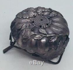 Vintage Japanese Pair 950 Sterling Silver Chrysanthemum Salt & Pepper Shakers