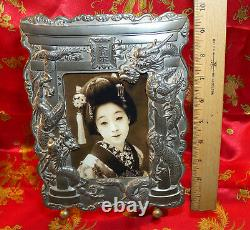 Vintage Japanese Picture Frame Pair Silver Plate Dragons Torii Arch Dai Nippon