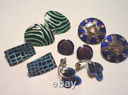 Vintage Laurel Burch Sterling Silver & Enamel Pierced Earrings, 5 Pairs