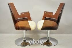 Vintage Laverne Style Cranberry Lucite Tulip Swivel Base Arm Chairs a Pair