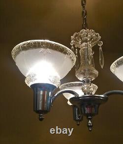 Vintage Lighting PAIR 1930s chrome crystal chandeliers
