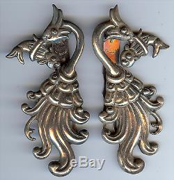 Vintage Los Castillo Mexico Silver Bird With Fish Pair Of Shoe Or Dress Clips