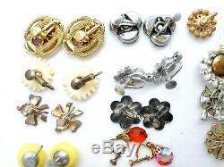 Vintage Lot 18 Pair of Screwback Earrings Rhinestones Sterling Silver Enamel