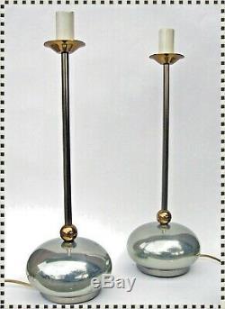 Vintage MID CENTURY MODERN Atomic Orb Metal Retro Lamp Pair (2)