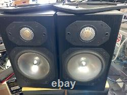 Vintage MONITOR AUDIO Silver S1 Bookshelf Speakers Pair Black Oak Cabinets
