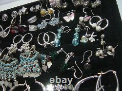 Vintage Massive Job Lot Solid Silver-earings-real Stones Invest Cleaned 30 Pairs