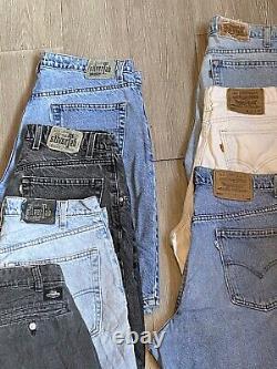 Vintage Men Levis silver & orange tab denim Shorts Lot of 7 pairs Various Sizes