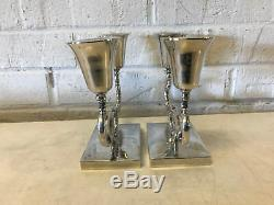 Vintage Mid Cent Modern P Lopez G Mexican Sterling Silver Pair of Candle Holders