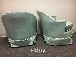Vintage Mid Century Modern MCM Silver Craft Green Velvet Chairs Pair