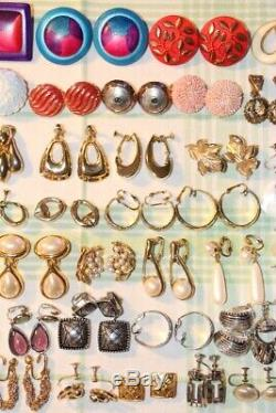 Vintage Modern LOT 53 Pairs CLIP Screw EARRINGS Gold & Silver Tone FAUX Pearl