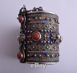 Vintage Moroccan Berber Kabyle enamel Silver / red coral Bracelets Cuff Pair