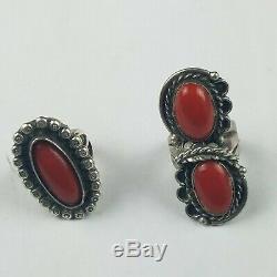 Vintage NAVAJO Sterling Silver & OLD RED Mediterranean CORAL RINGS Pair