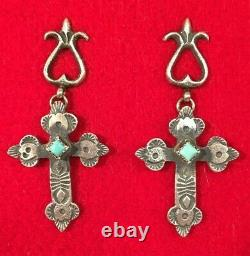 Vintage Navajo Pair Sterling Silver Turquoise Cross Earrings Signed KB, 1970-90s