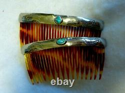Vintage Navajo Southwestern Sterling Silver Turquoise Pair of Hair Combs Stamped