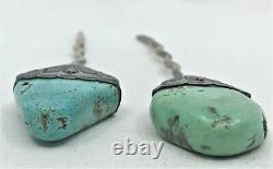 Vintage Navajo pair Sterling Silver Hair Bun Holder Sticks carved Turquoise