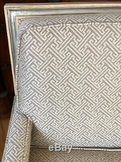 Vintage PAIR Hollywood Regency Style Armchairs Geometric Upholstered Silver Gilt