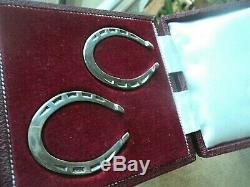 Vintage PAIR Horse Shoe Stg Silver Serviette / Napkin Rings h/m 1970 BOXED