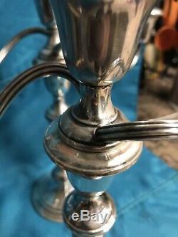 Vintage Pair 11.5 Gorham 808/1 3-Light Sterling Silver Candelabra Candlesticks