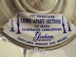Vintage Pair 3 Light Gorham Puritan Sterling Convertible Candelabra Free Ship