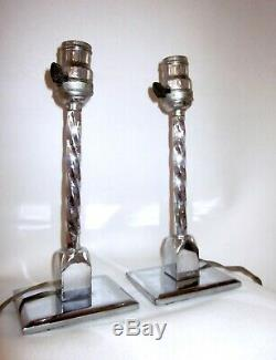 Vintage Pair Art Deco Silver Tone Stainless Steel Twisted Stem Boudoir Lamps