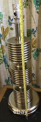 Vintage Pair Brass / Silver Tone Table Lamps 23.5 Tall Mid Century Heavy VGC