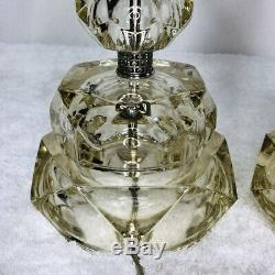 Vintage Pair Crystal Table Lamps Silver Accents Mid Century Modern High End 19