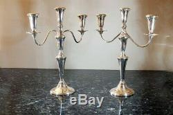 Vintage Pair Empire Sterling Silver Candelabras 3-Candle Convertible -Excellent