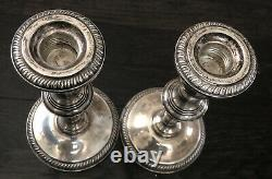 Vintage Pair FISHER Sterling Silver Weighted Candlesticks #305 Removable Top
