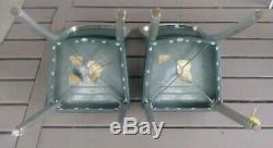 Vintage Pair General Fireproofing Goodform Green Vinyl Aluminum 2 Chairs