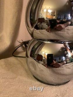Vintage Pair George Kovacs Stacked Ball Chrome Table Lamp Mid Century Modern MCM