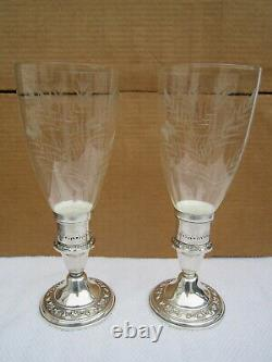 Vintage Pair Gorham Sterling Silver Candle Stick Hurricane Holders Etched Glass