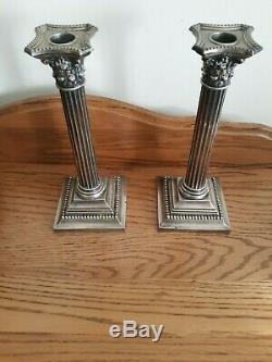 Vintage Pair Gorham Sterling Silver Column Candlesticks 3207