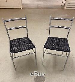 Vintage Pair Italian Mid Century Modern Gio Ponti Side Chrome Chairs