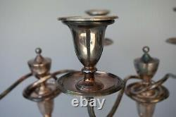 Vintage Pair Large 17 Tall Silver Plate Two 2 Arm Candlestick Candelabra