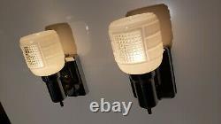 Vintage Pair Lightolier Art Deco Chrome Sconces c. 1930s Mid Century MCM