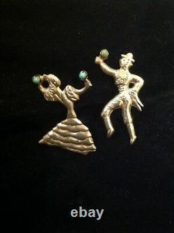Vintage Pair Mexican Sterling Silver Turq Flamenco Dancer Man Woman 2 Pin Mexico