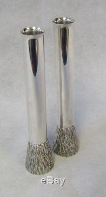 Vintage Pair Modernist Gerald Benney Mappin & Webb Silver Plated Bark Bud Vases