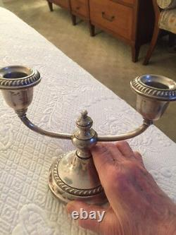 Vintage Pair Of Gorham Sterling Silver Cement Filled And Reinforced Candelabras