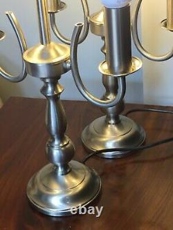 Vintage Pair Of Silver Double Candlestick Candelabra Table Lamps 21 Tall