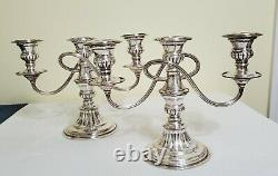 Vintage Pair Of Silver On Copper Nouveau Three-light Candelabras / Candle Holder