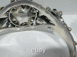 Vintage Pair Of Sterling Silver Floral Cuff Bracelets