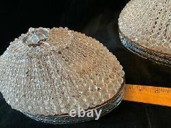 Vintage Pair Oval SHERLE WAGNER Chrome Crystal Bead Light flush Fixtures