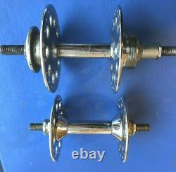Vintage Pair Resilion Large Flange Hubs, 32/40h, Flip Flop Rear, Chromed In Exc Con